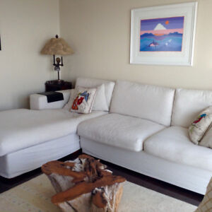 Living room sectional sofa down filled with  linen slipcovers