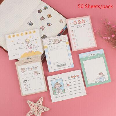 50 Sheet Cute Memo Pad Stationery Notebook Sticky Notes Bookmark Planner Stic Hh