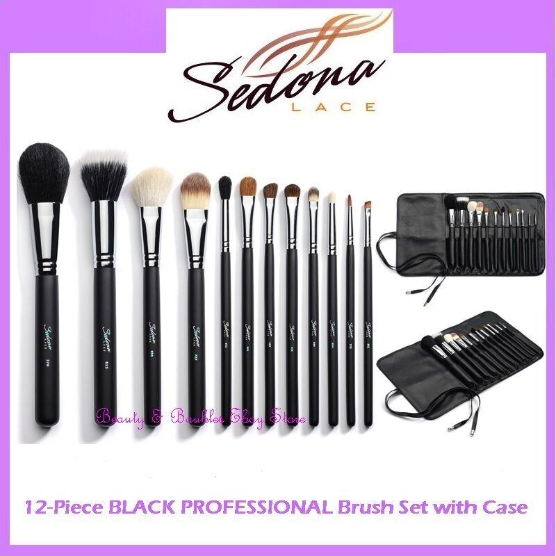 Sedona Lace 12 Piece Professional Makeup Brushes - Black