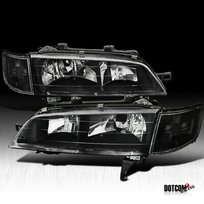 Fit 1994-1997 Honda Accord JDM Black Headlights+Black Corner Signal Lamps Pair