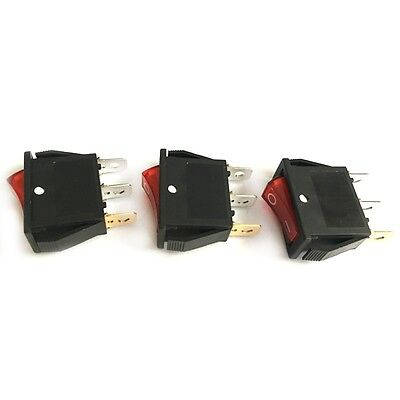 10pcs Red Lamp 3pin Onoff 2 Position Rocker Switch 10a250vac Panel Mount New