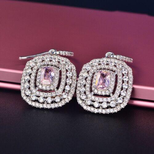 Eardrop Earrings S925 Silver Topaz Elegant Pink Wedding Xmas Gifts For Her Women 4