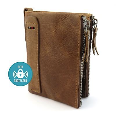 Mens Luxurious 100% Genuine RFID Bifold Leather Wallet With Zip Cash Coin Pocket