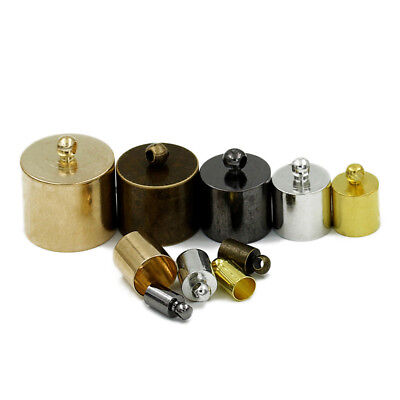 (50pcs/lot Copper Gold Plated End Caps Fit 6/7/10/11/15mm Leather Cord Connectors)