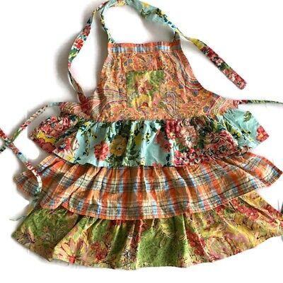 April Cornell Kids Ruffled Patchwork Apron Farmhouse Floral Plaid Paisley Girls