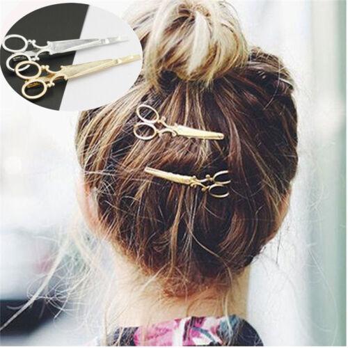 2 pz MODA forbici forma Fermaglio per capelli oro argento spilla donna accessori