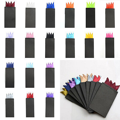 Sale Men Handkerchief Solid Color 4 Folds Pre folded Pocket Square Wedding
