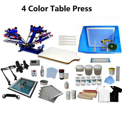 4 Color Silk Screen Printing Kit Press Printer Full Materials Package Supply