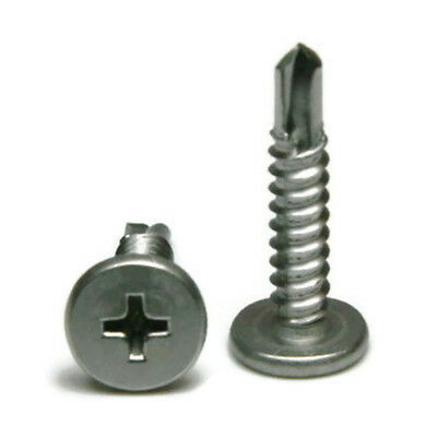 10 Phillips Pancake Head Self Drilling Tek Screws Stainless Steel - 25 Pack