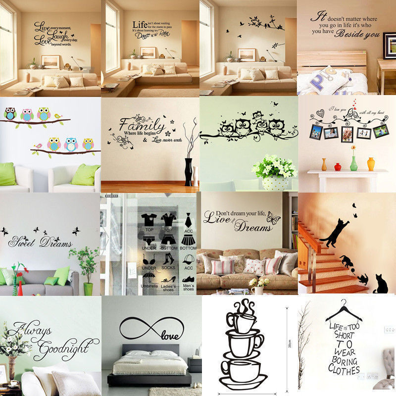 Home Decoration - New Vinyl Home Room Decor Art Quote Wall Decal Stickers Bedroom Removable DIY