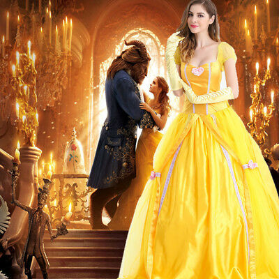 Chic Beauty and The Beast Adult Belle Princess Cosplay Costume Gown Fancy Dress# - Adult Belle Costume