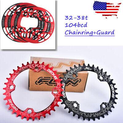 DECKAS 32/34/36/38 104bcd MTB Bike Sprockets Single CNC Crankset Chainring Guard ()