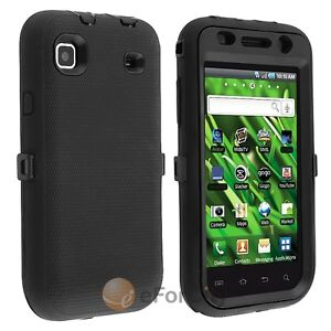 Black Hard Hybrid Case Cover For Samsung Vibrant T959/Galaxy S i9000/Galaxy S 4G
