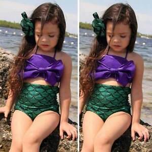 Girls-Kids-Mermaid-Tail-Swimmable-Bikini-Set-Swimwear-Swimsuit-Swimming-Costume