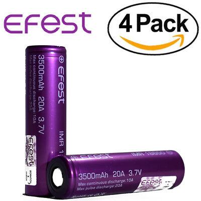 4 EFEST 3500mAh 20A 18650 Batteries High Drain IMR Flat Top Purple Vape Battery