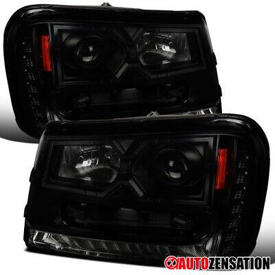 For 2002-2009 Chevy Trailblazer Black Smoke Projector Headlights LED DRL Strip