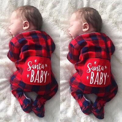 Christmas Newborn Santa Baby Boys Girls Plaid Romper Jumpsuit Outfits Clothes ()