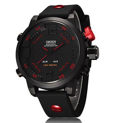 OHSEN Luxury Men Fashion Sport Waterproof LED Digital Analog Quartz Wrist Watch