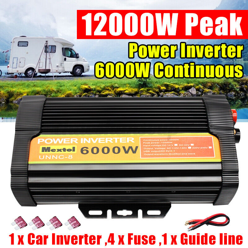 Solar Power Inverter 5000W 6000W DC 12V To AC 110V Sine Converter Wave