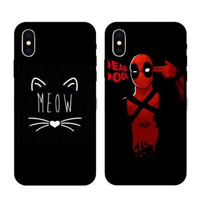 Cat&Deadpool Soft TPU Black Phone Case Cover For iPhone 6 7 8 Plus XR XS MAX