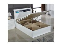 BRAND NEW HIGH GLOSS GRACE DOUBLE KING SIZE WOODEN OTTOMAN STORAGE BED FRAME WITH LED LIGHT WHITE