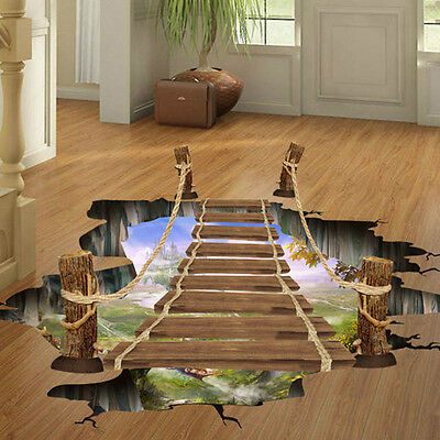 Halloween 3D Floor Wall Sticker Removable Bridge Mural Decals Vinyl Room Decor - Halloween Wall Decorations