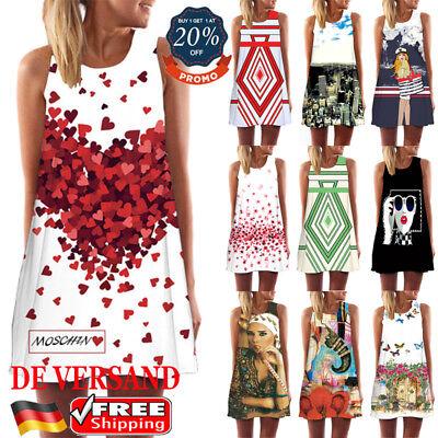DE Damen Locker Longtop Longshirt BOHO Sommerkleid Casual Strandkleid Minikleid Casual Sommer Kleid