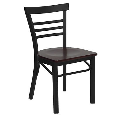 Metal Restaurant Chair Deluxe Ladder Back With Mahogany Seat