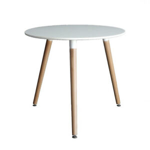 Eames Style Side Dining Room Table with Natural Wood Legs Eiffel