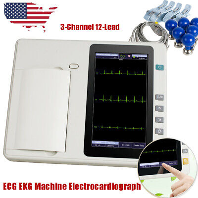 7lcd Touch Screen Digital 3-channel 12-lead Electrocardiograph Ecgekg Machine