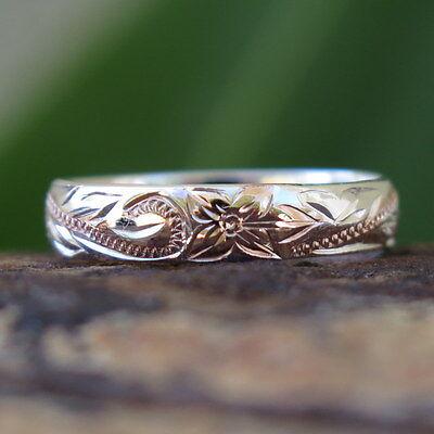 (Hawaiian Silver Pink Gold Flower Scroll Jewelry Wedding Ring Band 4mm SR1147)
