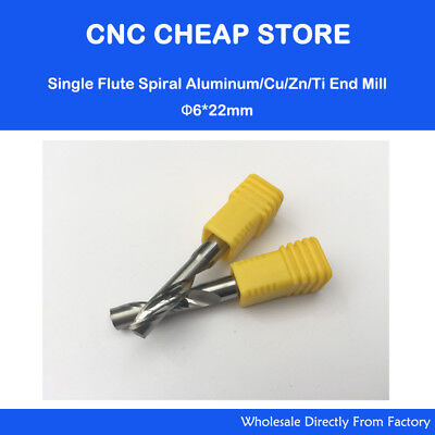 Hq 2pcs Aluminium Cutting Carving Endmil Single Flute Cnc Router Bits 6mm 22mm