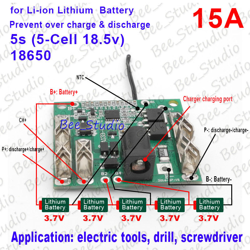 3S 30A BMS PCM li-ion battery board for electric tools electric hand drill screwdriver with high current Temperature Switch