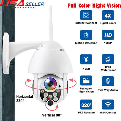 Color Night Vision Security Camera - Outdoor WiFi PT 5X Zoom 1080P HD IP IR Security Camera Full Color Night Vision