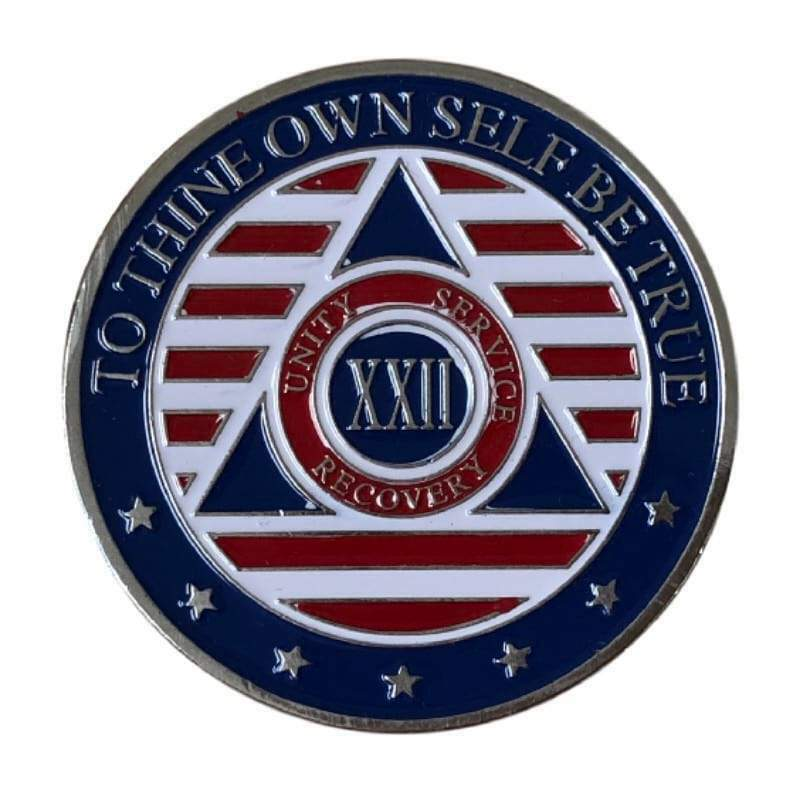 22 Year Patriotic Stars and Stripes AA/NA Recovery Medallion - Red/White/Blue