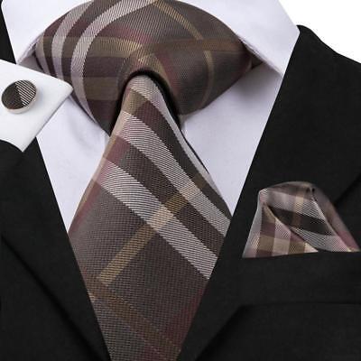 Brown Striped Woven Necktie - USA Classic Brown Striped Plaids&Checks Mens Tie Necktie Set Silk Woven Business