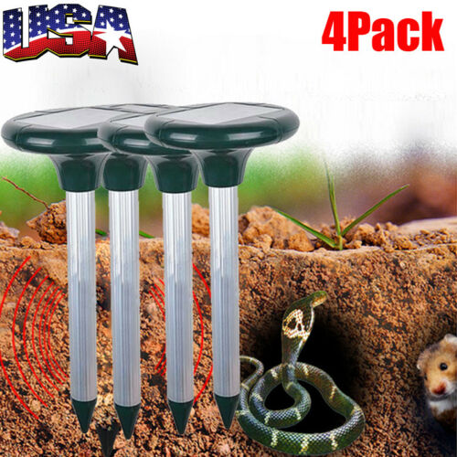 4Pack Solar Power Ultrasonic Gopher Mole Mouse Pest Reject R