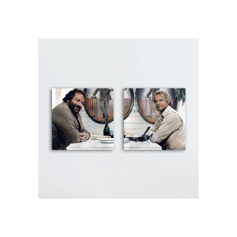 Das Krokodil und sein Nilpferd - Glasbild-Set (2 Glasbilder à 20x20cm) - Bud Spe