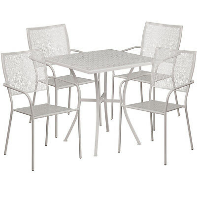 28 Square Light Gray Indoor-outdoor Patio Resturant Table Set W4 Chairs