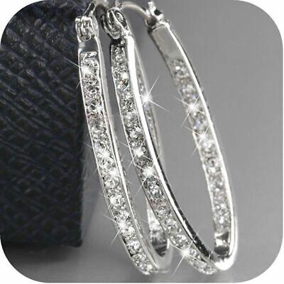 Women Silver Crystal Rhinestone Large Hoop Dangle Earrings Wedding Jewellery