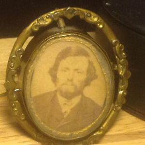 CIVIL WAR ERA SOLDIER PHOTO PICTURE BADGE PIN BROOCH