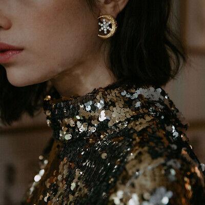 Signed JENNIFER BEHR Crescent Moon & Star Goldtone Statement Earrings