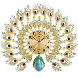 Fashion 3D Peacock Handmade Decorative Wall Clock Metal Gift Clock