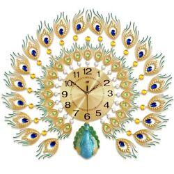Fashion 3D Peacock Handmade Decorative Wall Clock Metal Gift Clock