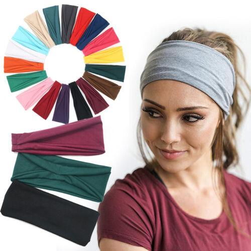 Men Women Wide Headband Sweatband Stretch Sweat Elastic Spor