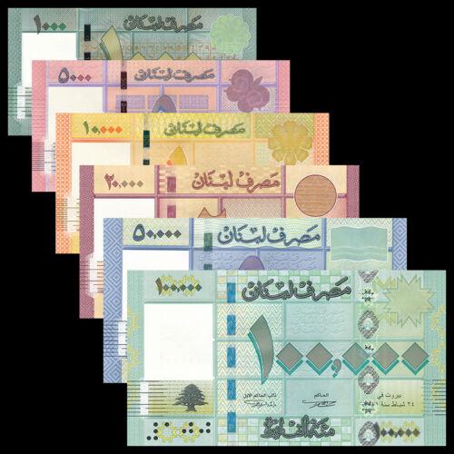 Lebanon set 6 PCS, 1000 5000 10000 20000 50000 100000 Livres, P-90-95, lot, UNC