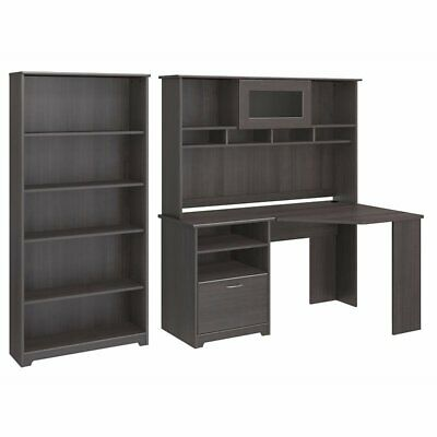 Bush Cabot Corner Desk with Hutch and 5 Shelf Bookcase in Heather Gray