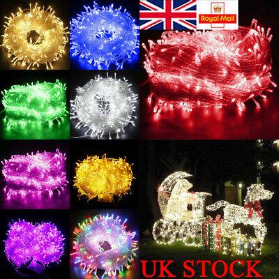 UK LED Fairy Lights 200/300/500/1000 LED Plug Wire String Outdoor Party Decor