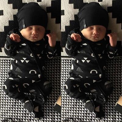 UK Baby Boy Girl Infant Warm Romper Jumpsuit Kids Cotton Long Sleeve Clothes