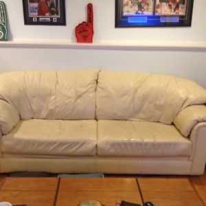 2 White Leather Couches (Couch + Loveseat)